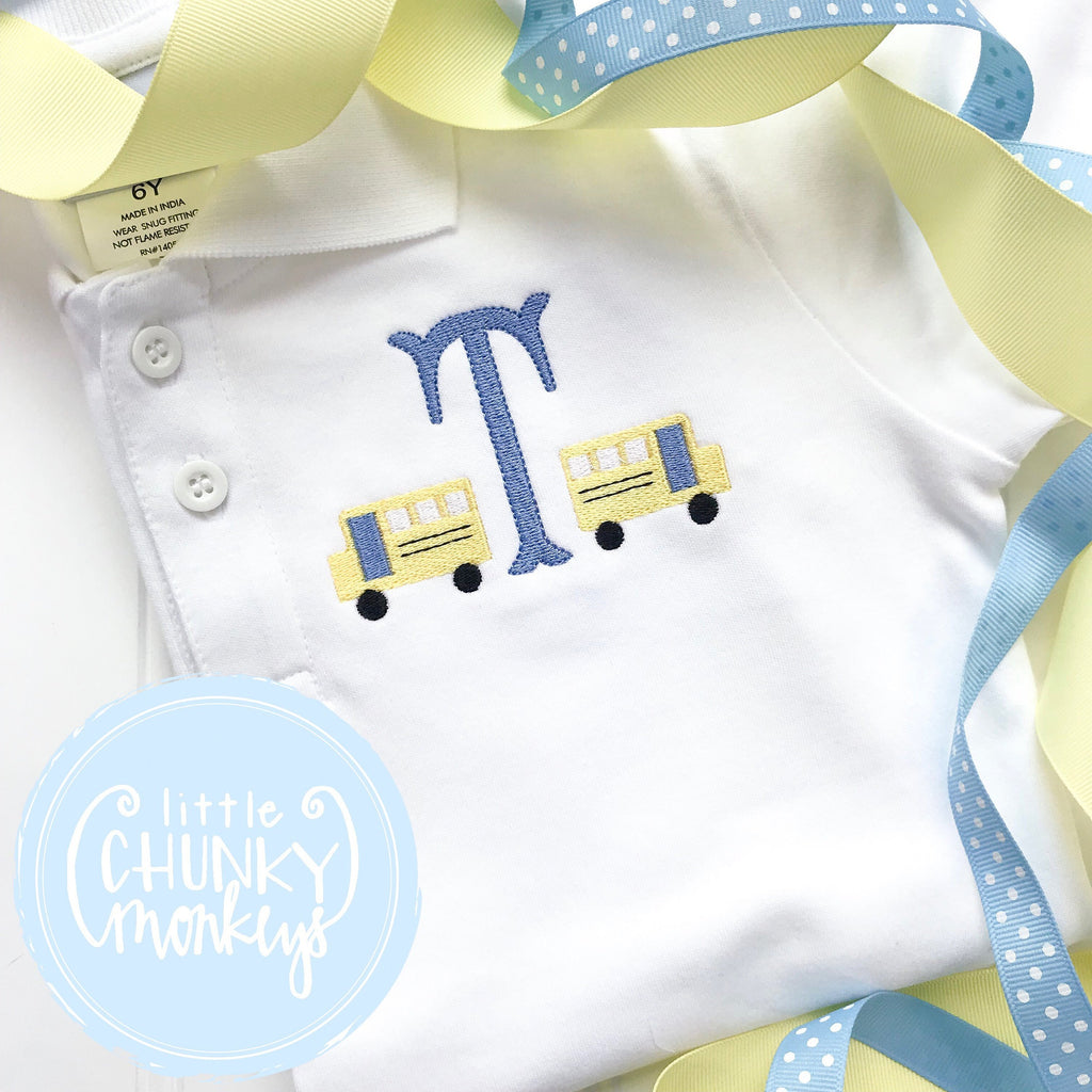 Boy Polo Shirt - Back To School Polo Shirt - Personalized Polo Shirt with Mini School Buses