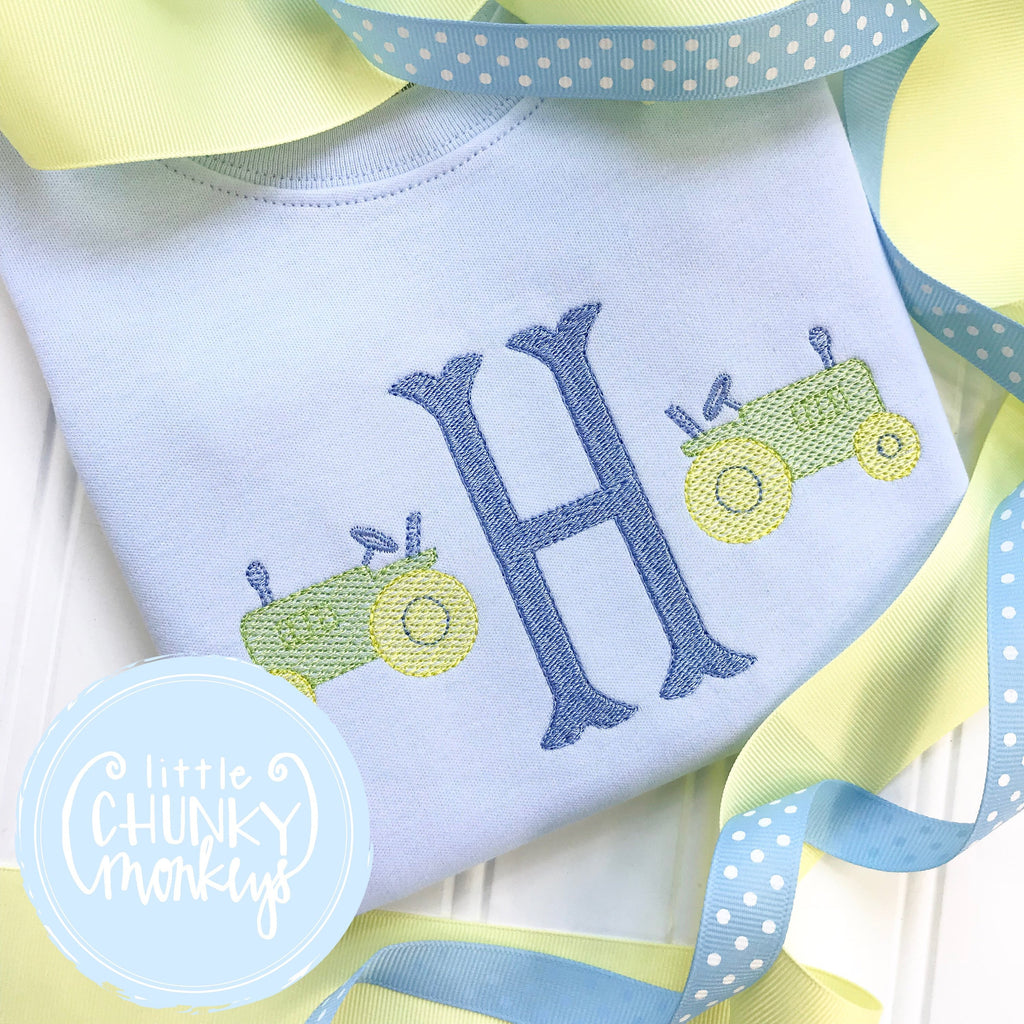 Boy Shirt - Boy Shirt - Initial with small tractors