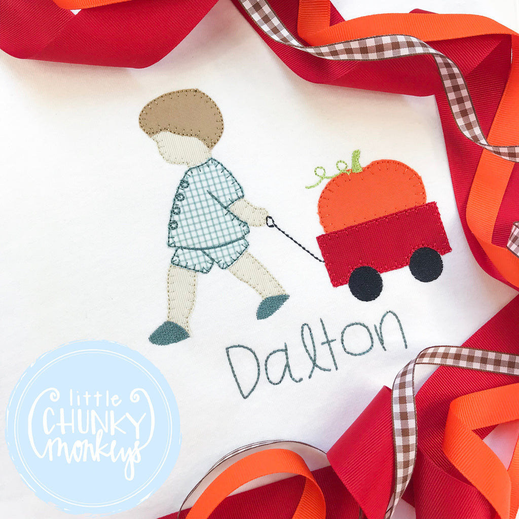 Boy Shirt -Fall- Boy Pulling Wagon with Pumpkin