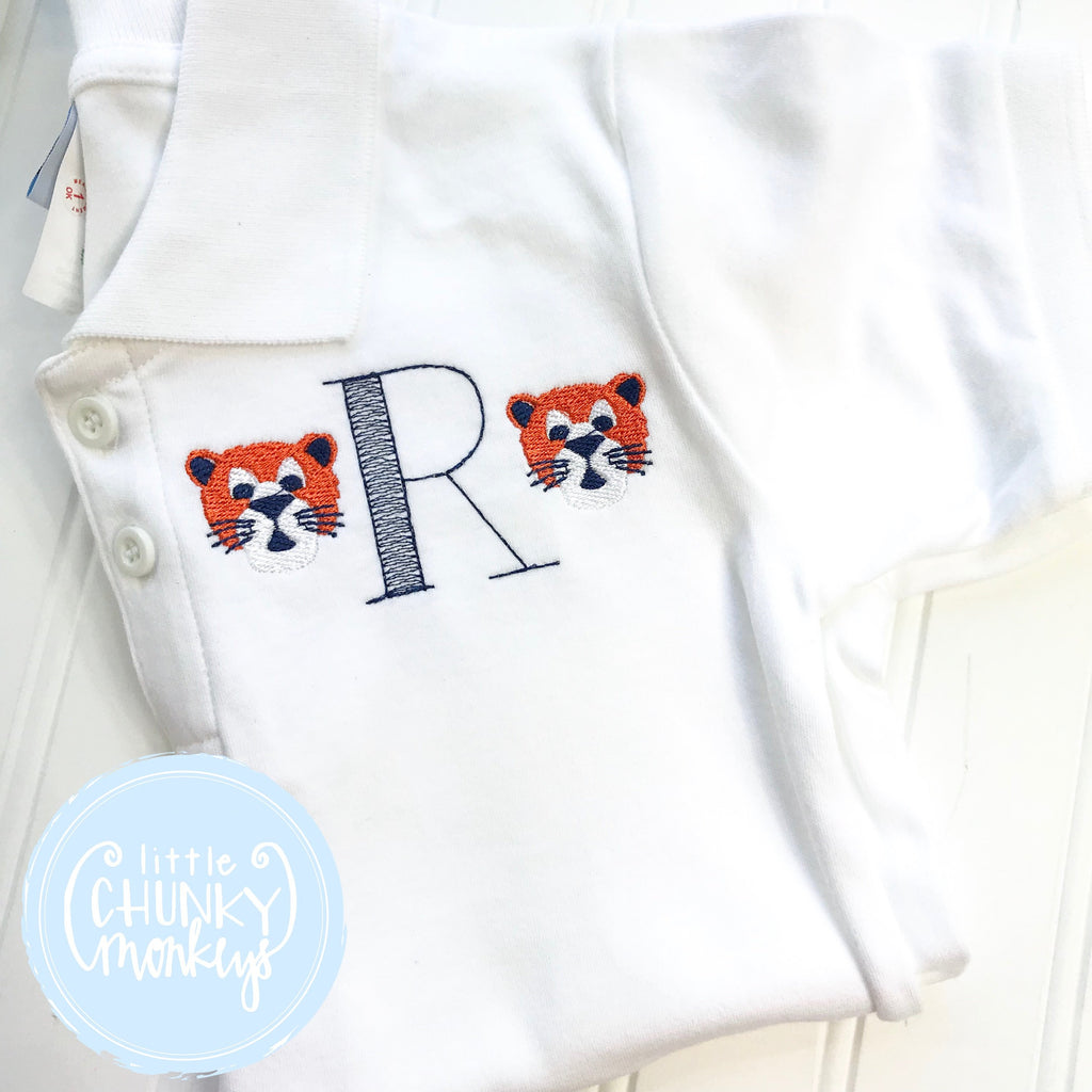 Boy Polo Shirt -Tiger Polo Shirt - Personalized Polo Shirt with Single Initial and Tigers on each side.