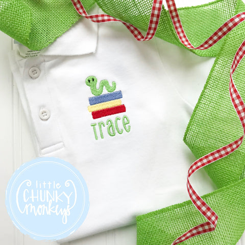 Boy Polo Shirt - Back To School Polo Shirt - Personalized Polo Shirt with books and worm