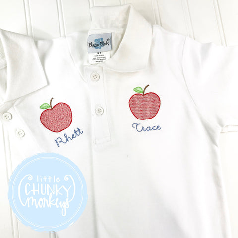 Boy Polo Shirt - Back To School Polo Shirt - Personalized Polo Shirt with a Mini Apple and Initials