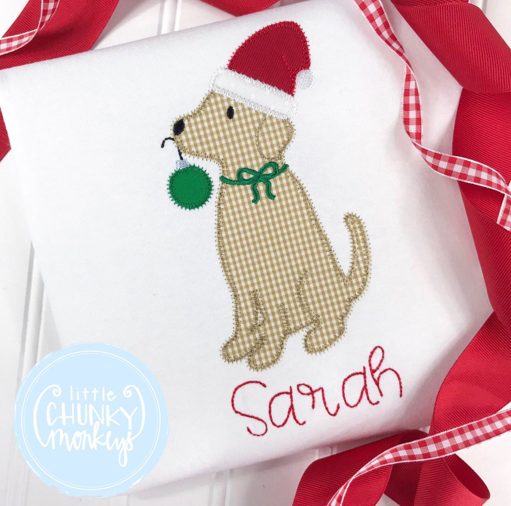 Girl Shirt - Lab Wearing Santa Hat with Personalization