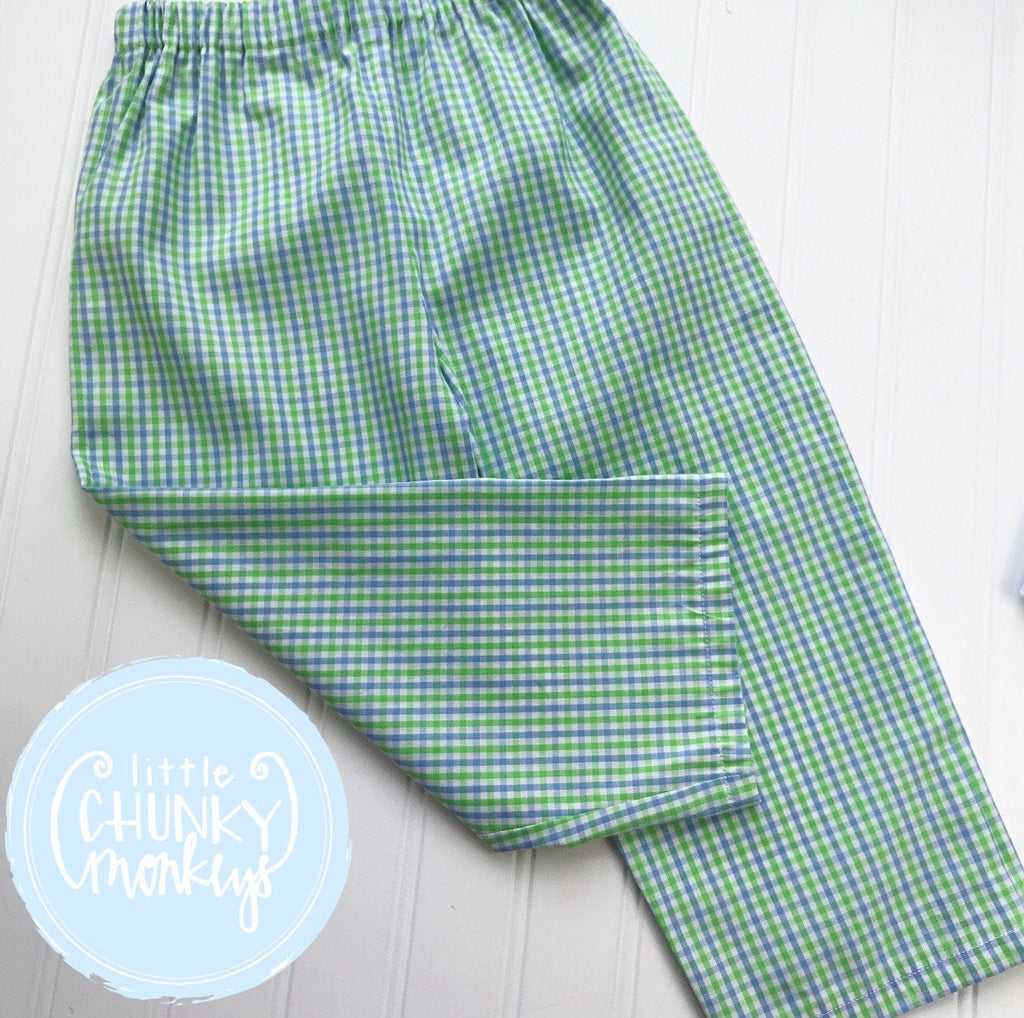 Boy Classic Pants - Green and Blue Check