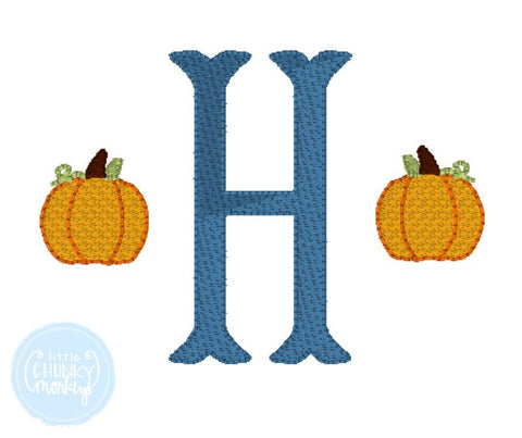 Boy Shirt -  Single Initial with Mini Pumpkins on Each Side
