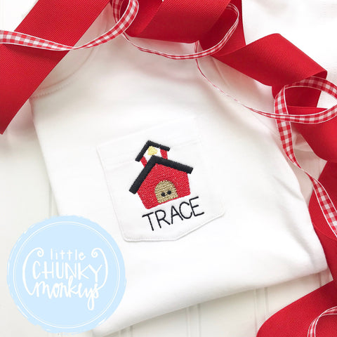 Boy Pocket Shirt - Back To School Pocket Shirt - Personalized Pocket Shirt with Mini School House