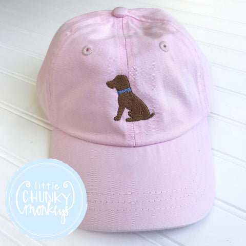 Toddler Kid Hat - Pale Pink with Sitting Chocolate Dog.