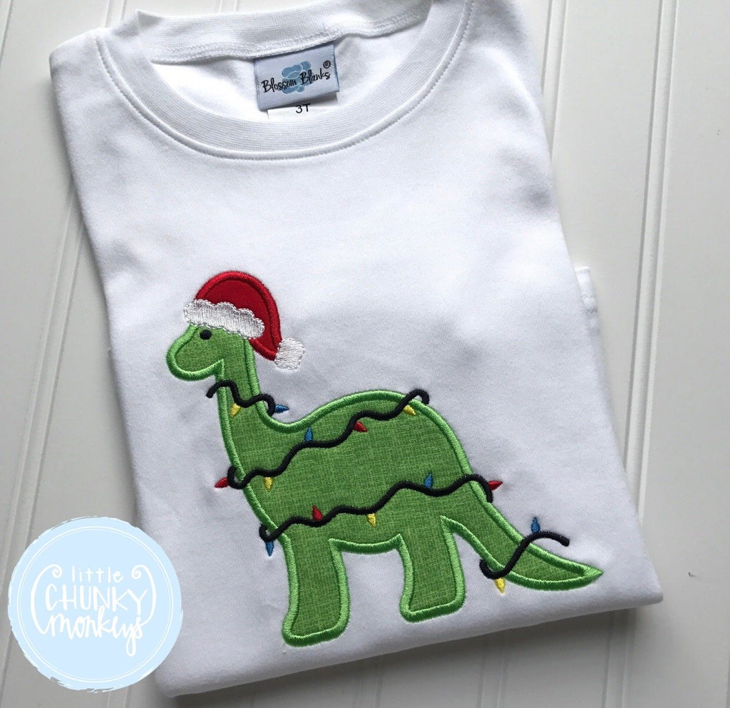 Boy Shirt - Dinosaur Wearing Santa Hat Wrapped in Christmas Lights.