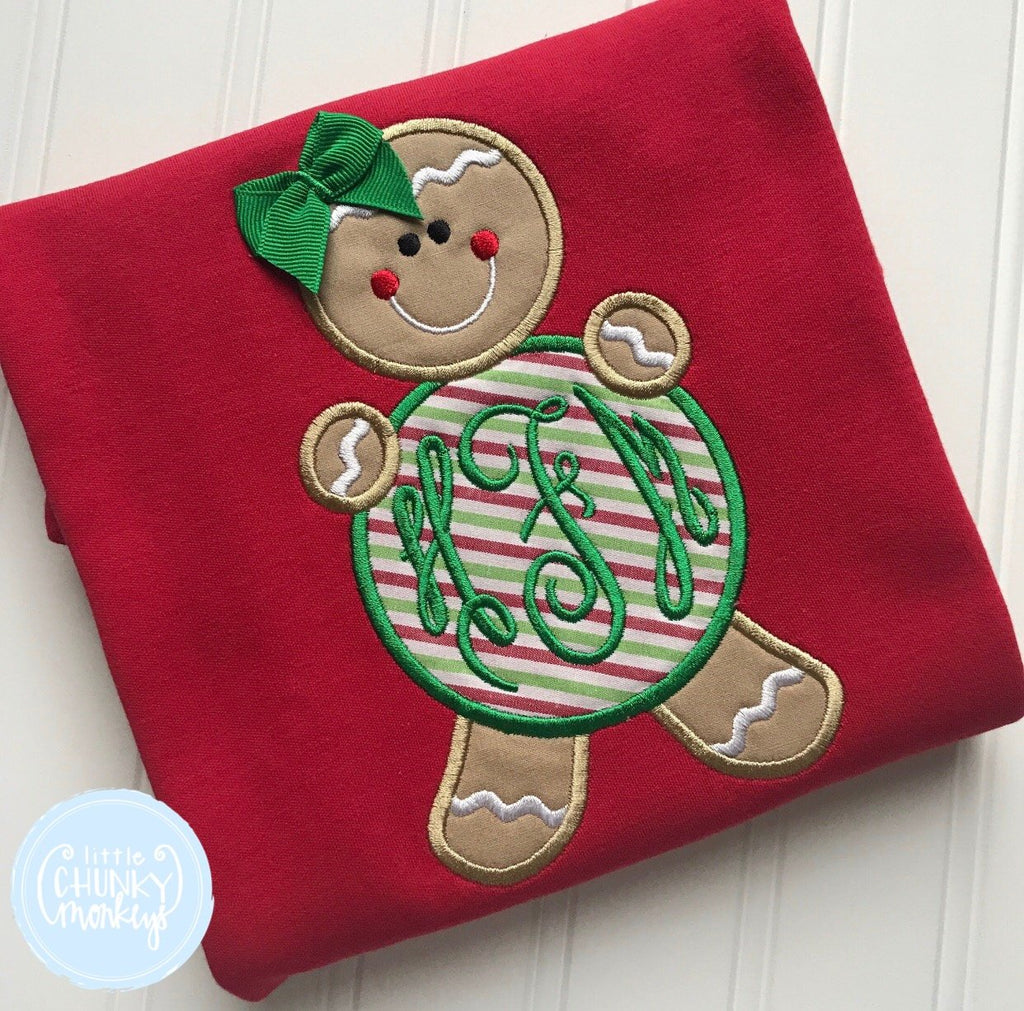 Girl Shirt - Applique Gingerbread Girl with Personalization