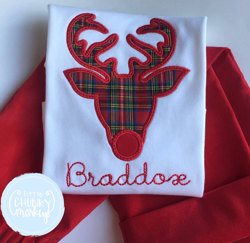 Boy Shirt - Applique Reindeer in Tartan + Personalization