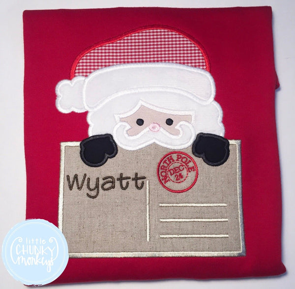 Boy Shirt - Applique Santa with Personalization On Letter.