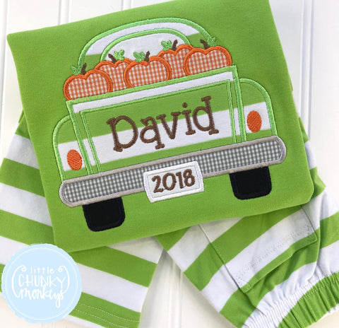 Boy Shirt - Applique Truck filled with Pumpkins + Personalization