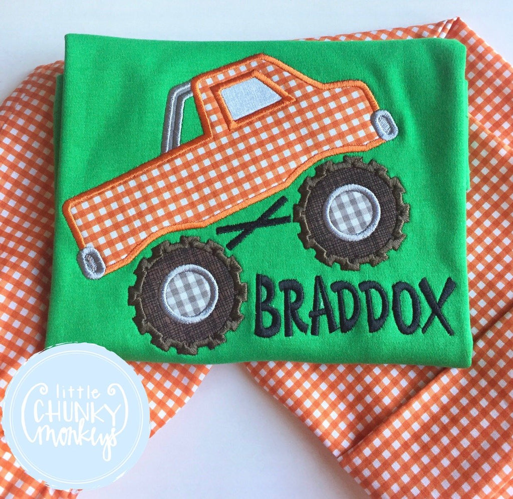 Boy Shirt - Applique Monster Truck with Personalization
