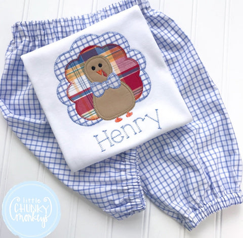Boy Shirt - Personalized Boy Shirt - Applique Plaid Turkey