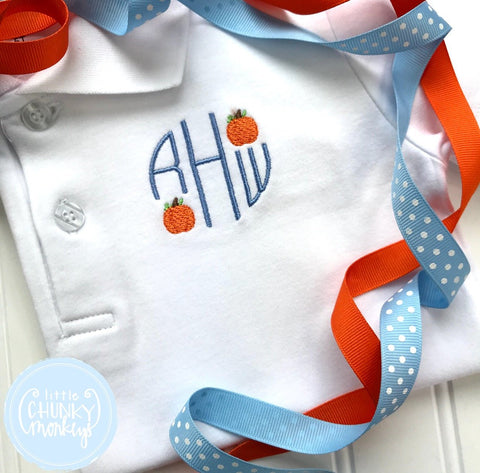 Boy Polo Shirt - Circle Monogram with Mini Pumpkins