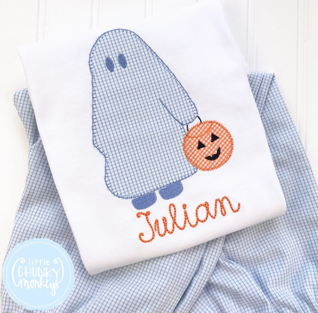 Boy Shirt - Boy Halloween Shirt - Trick or Treating Sheet Ghost with Personalization