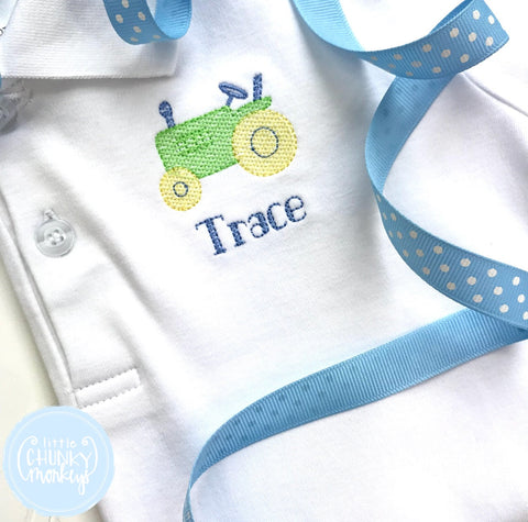 Boy Polo Shirt - Mini Tractor + Personalization
