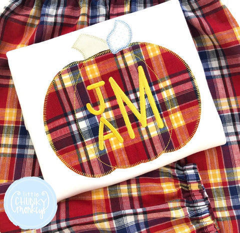 Boy Shirt - Boy Shirt - Fall Plaid Applique Pumpkin with Stacked Initials
