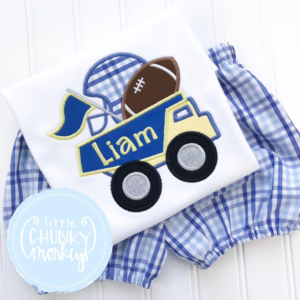 Boy Shirt - Yellow and Blue Football Dump Truck Applique Shirt
