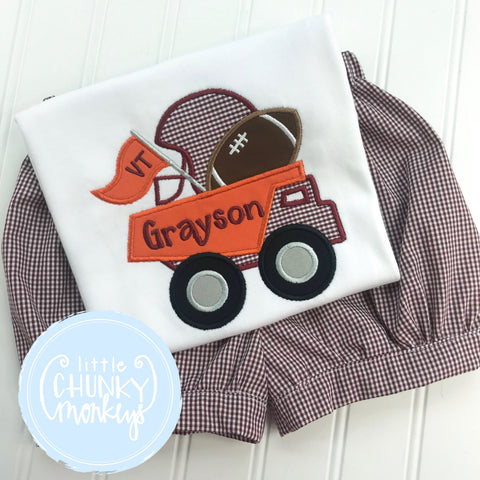 Boy Shirt - Maroon and Orange Football Dump Truck Applique Shirt