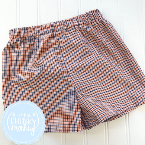 Boy Oliver Classic Shorts - Orange, Navy and White Tri check