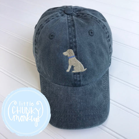 Toddler Kid Hat - Sitting Yellow Lab Puppy on Navy Hat