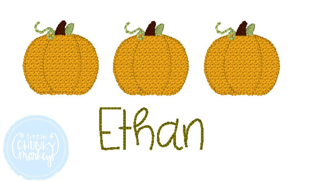 Boy Shirt -  Fabric Applique Pumpkin Trio with Personalization
