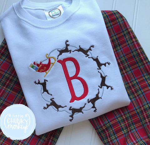 Boy Shirt - Santa Sleigh with Single Initials in the Middle
