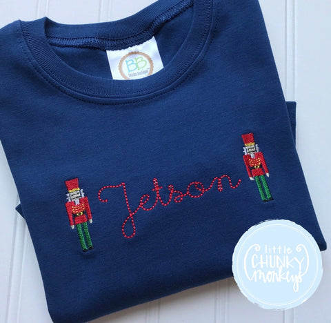 Boy Shirt - Vintage Stitched Name with Mini Nutcrackers