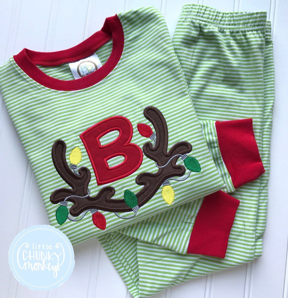 Boy Shirt -Reindeer Antler Wrapped in Christmas Lights with Single Initial