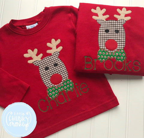 Boy Shirt - Applique Reindeer with Personalization