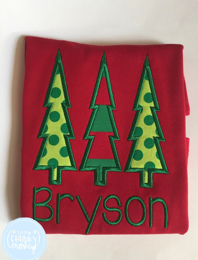 Boy Shirt - Applique Christmas Tree Trio with Personalization