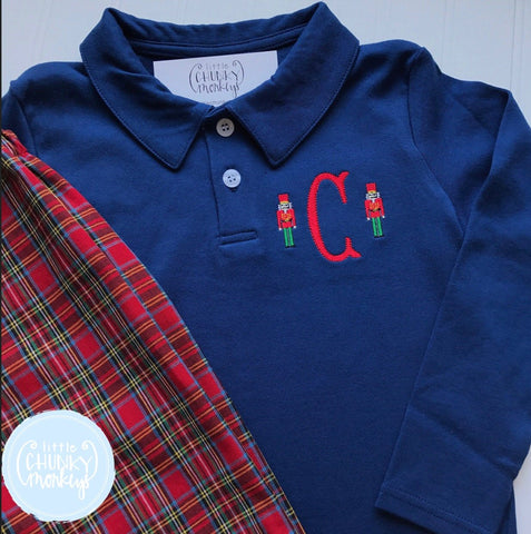 Boy Polo Shirt -  Personalized Polo Shirt with Single Initial and Mini Nutcrackers