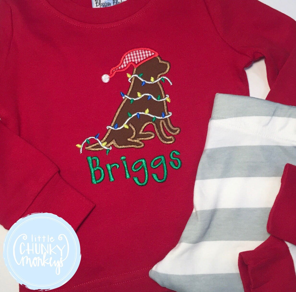 Boy Shirt - Applique Dog Wearing Santa Hat and Wrapped in Christmas Lights + Personalization
