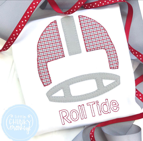 Boy Shirt - Applique Football Helmet with Personalization
