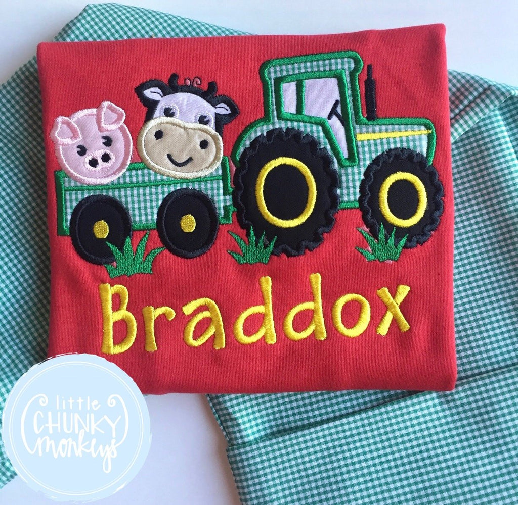 Boy Shirt - Applique Tractor with Farm Animals + Personalization