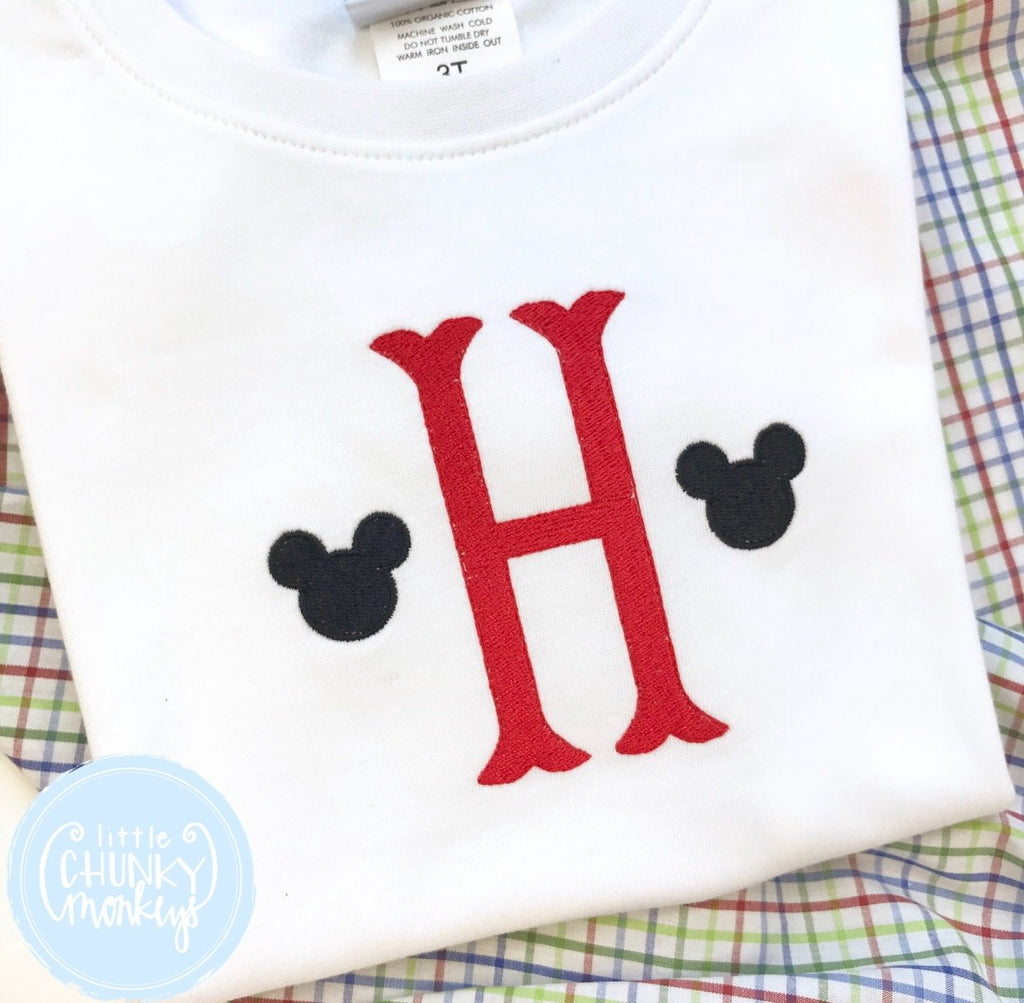 Boy Shirt - Single Initial with Mini Mouse Ears