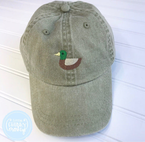Toddler Kid Hat - Faded Olive with Mallard Duck