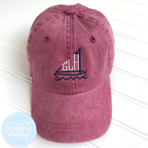 Toddler Kid Hat - Faded Red with Sailboat Monogram