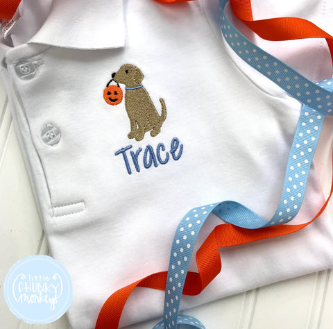 Boy Polo Shirt - Mini Trick or Treat Dog + Personalization