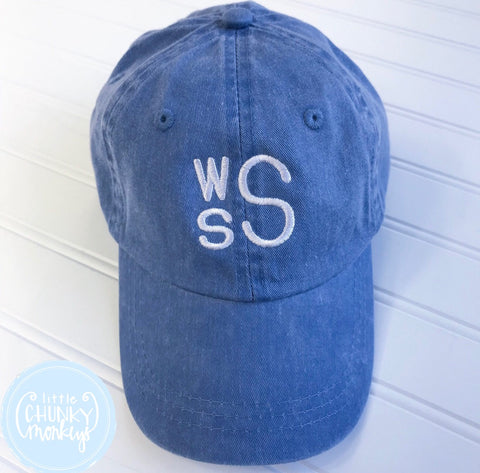 Toddler Kid Hat - Faded Blue with Stacked Monogram