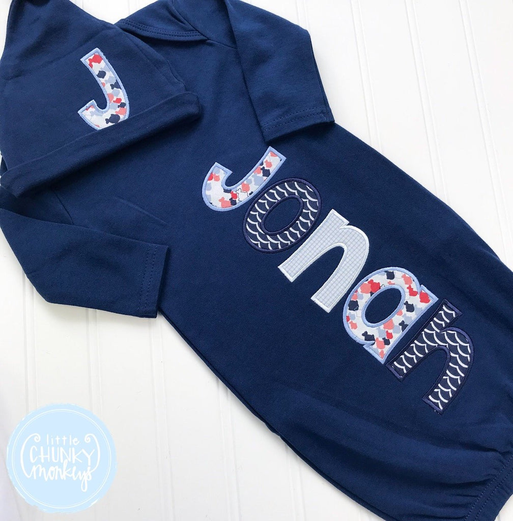 Baby Boy Gown - Bring Home Shirt - Personalized Newborn Name Gown + Cap in Navy