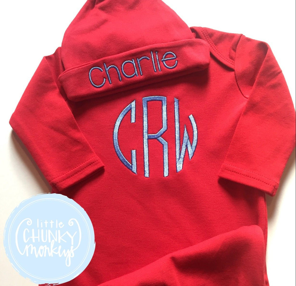 Baby Boy Gown - Bring Home Shirt - Personalized Newborn Name Gown + Cap in Red