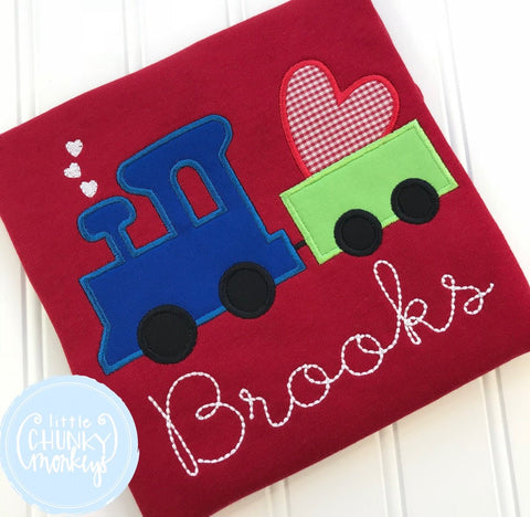Boy Shirt - Boy Valentine Shirt - Valentine Tractor with Hearts on Red Shirt