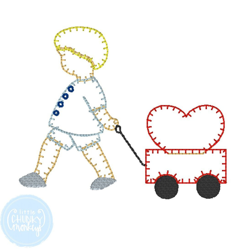 Boy Shirt - Valentine Shirt- Monogrammed Little Boy Pulling Wagon with Heart.
