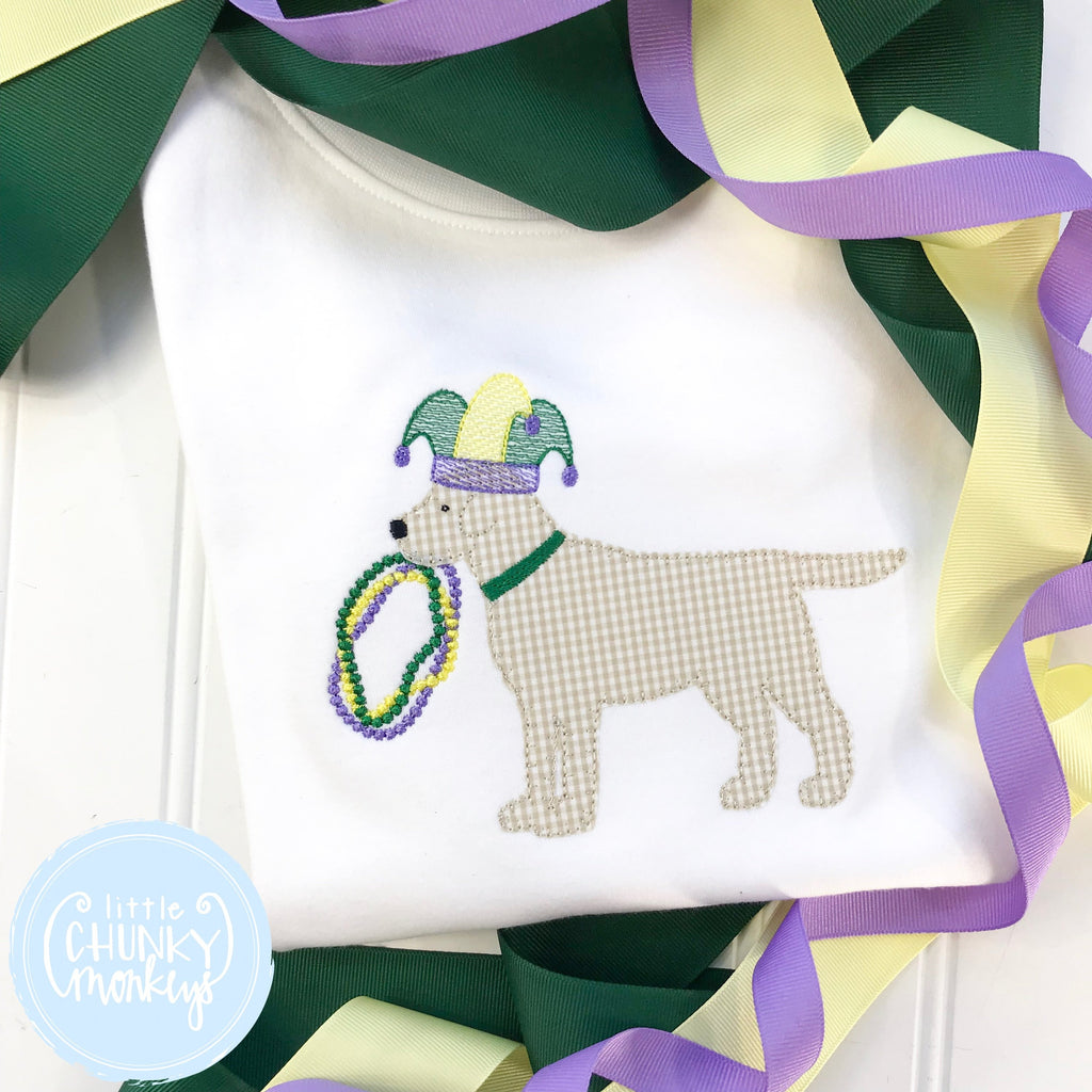 Boy Shirt - Boy Mardi Gras Shirt - Lab Wearing Mardi Gras Hat and Beads