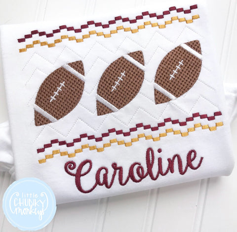 Boy Shirt - Maroon and Gold Football Trio Applique Shirt