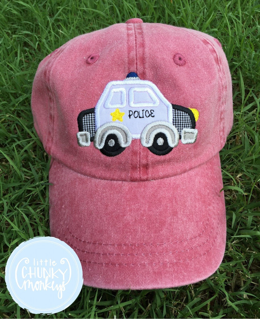 Toddler Kid Hat - Police Car on Red Hat