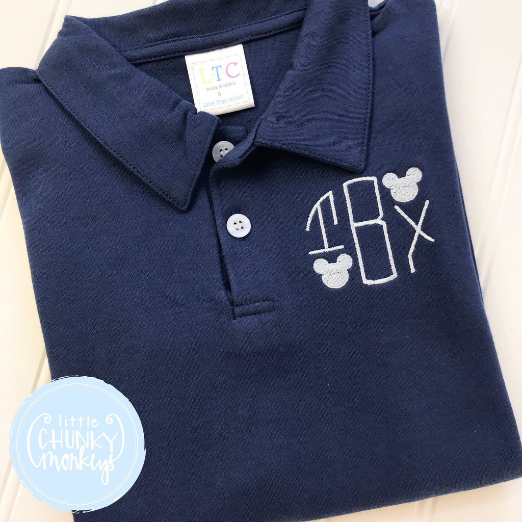 Boy Polo Shirt -  Personalized Polo Shirt with Circle Monogram and Mini Mouses