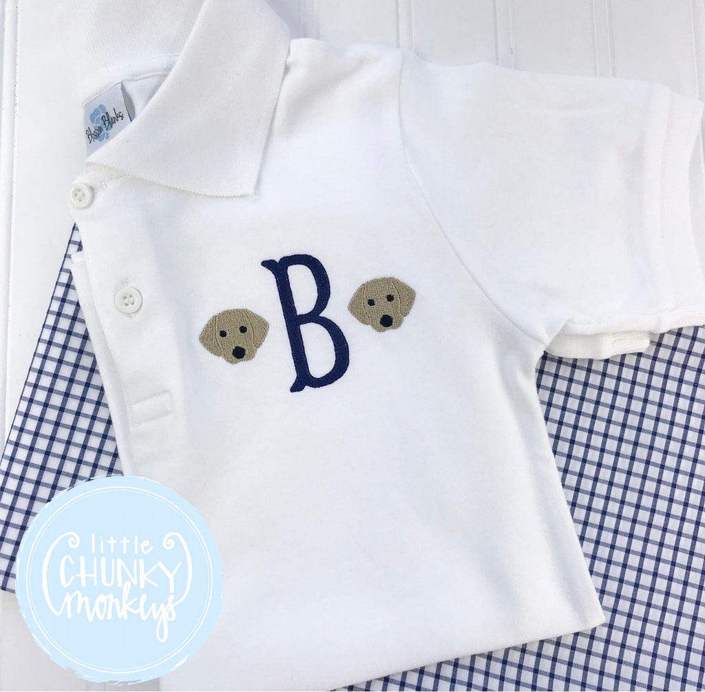 Boy Polo Shirt - Single Initial with Mini Dogs on White Polo Shirt
